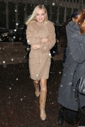Yvonne Strahovski - bundled up arriving at The Today Show 01/21/14