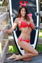 Claudia Romani - Valentine's bikini photoshoot in Miami Beach 2/12/14