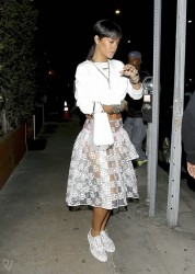 Rihanna - Wearing a See-Through Skirt Leaving Il Ristorante di Giorgio Baldi in LA 3/20/14