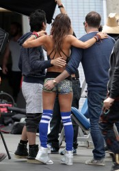 Brooke Burke Looking Hot on the Set of a Sketchers Photoshoot in Los Angeles on April 17, 2014