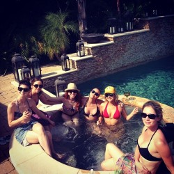 Kaley Cuoco in a Pool With Her Friends - 5/4/14