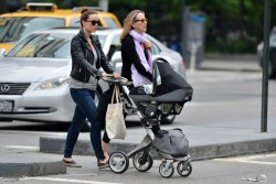 Olivia Wilde out and about with her mom, Leslie & her newborn son, Otis in New York on May 23, 2014