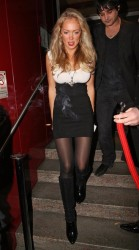 Aisleyne Horgan-Wallace leggy with pantyhose - on a nightout at the Met Bar, attending Lisa Moorish's bithday party 1/13/09