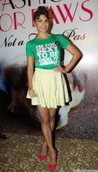 Jacqueline Fernandez in short skirt unveils PETA campaign at LFW 4/28/13