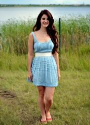Lana Del Rey in short blue dress performs at Melt Festival in Ferropolis, Germany 7/15/12