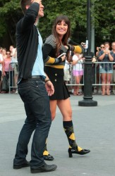 Lea Michele being sexy on the set of Glee in Washington Square Park in New York City 8/11/12  32 pics inside