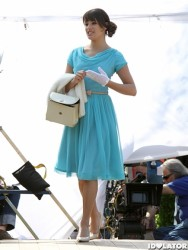 "Lea Michele looking stunning in a blue dress on the set of ""Glee"" in Central Park  4/26/11"