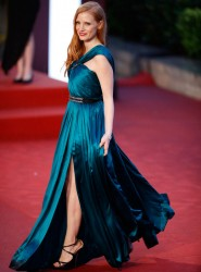 Jessica Chastain stunning in silky blue dress at the 16th Shanghai International Film Festival 6/23/13