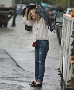 Dakota Fanning - Leaving Cafe Cluny West Village NYC 5/22/14 Ethereal goddess in the rain 48HQ
