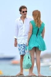 Princess Beatrice has her turquoise dress blow in the wind exposing her ass along the dock at Club 55 7/15/12