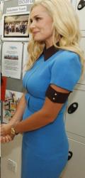 Katherine Jenkins in tight blue pencil dress leaving the London Studios 1/31/13