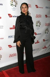 "Salma Hayek in black satin blouse at Sir Richard Branson's ""Rock The Kasbah"" Gala 10/23/08"