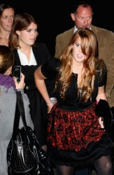 Princess Beatrice and Princess Eugenie elegant in pantyhose at the Form Menswear launch at Harrods Department store 10/2/08