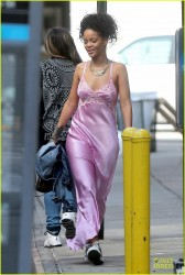 Rihanna - Wearing a pink night gown in NYC 7/8/14