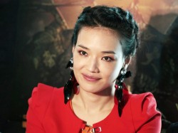 Shu Qi looking cute in red pantyhose at a news conference on Journey to the West in Hong Kong 1/8/13