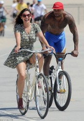 Kelly Brook accidentally flashes her underwear during a bike ride in Venice Beach 7/8/14