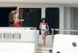Selena Gomez wearing a Swimsuit on a boat in St. Tropez 7/21/14
