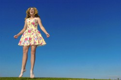 Paula Creamer looking cute jumping in a sundress in a unknown photoshoot