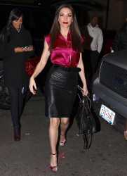 Whitney Cummings in a satin blouse and lather pencil skirt in NYC for an appearance on Watch What Happens Live 11/4/13