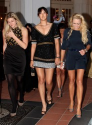 Michelle Wie, Natalie Gulbis and Nickole Raymond are very leggy at the Welcome Reception prior to the start of the HSBC Women's Champions 2/23/10