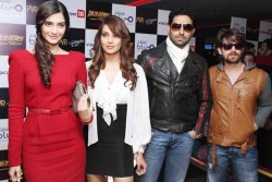 Sonam Kapoor and the rest of the cast of 'Players' at the Blu-O bowling alley 12/30/11