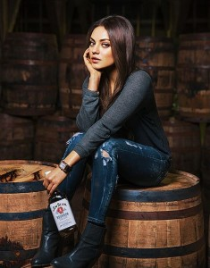 Mila Kunis 'Make History' Poster for Jim Beam in ripped jeans