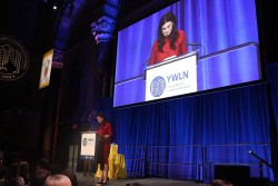 singer idina menzel watched on big screen