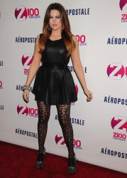 Khloe Kardashian in patterned pantyhose at the Z100 & Coca-Cola All Access lounge at Z100's Jingle Ball 2011 pre-show at 12/9/11