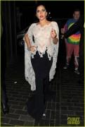 Lady Gaga - Wearing a Shear Lacey Top in London 10/23/14