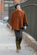 Uma Thurman walking around in a suede poncho in New York City December 18-2014 x26