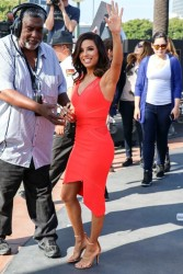 Eva Longoria - On the set of 'Extra' in LA 2/4/15