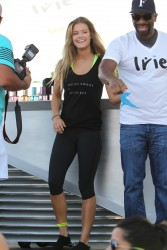 Nina Agdal - SuperSweat Redbike spinning event in Miami - 02/07/15 *adds*