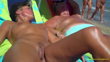 Girl rubbing pussy bent over