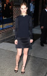 Lily James - Arriving at The Late Show with David Letterman in NYC 3/9/15
