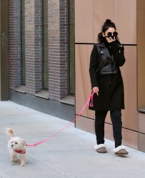 Vanessa Hudgens out with her dog Darla in NYC 3/13/15