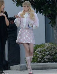 Emma Roberts - on set of Scream Queens in New Orleans 3/22/15